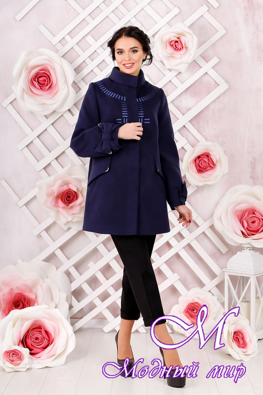 Женское кашемировое пальто темно-синего цвета  (р. 44-54) арт. 974 Тон 354