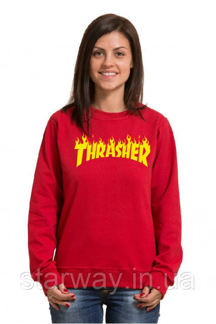 Свитшот женский красный с принтом Thrasher   кофта топ