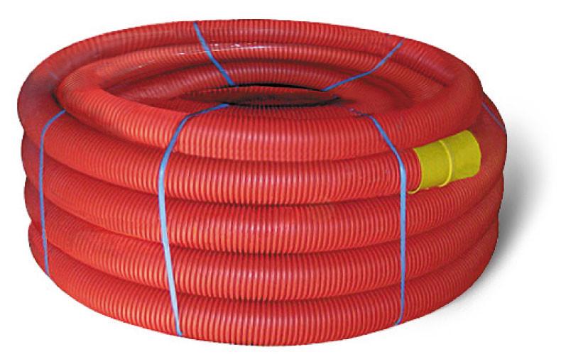 Труба ПНТ гнучка гофр. д.40мм, посилена з протяжкою, червон. колір
