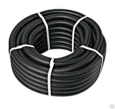 Труба ПНТ гнучка гофр. д.25мм, посилена з протяжкою, чорн. Колір