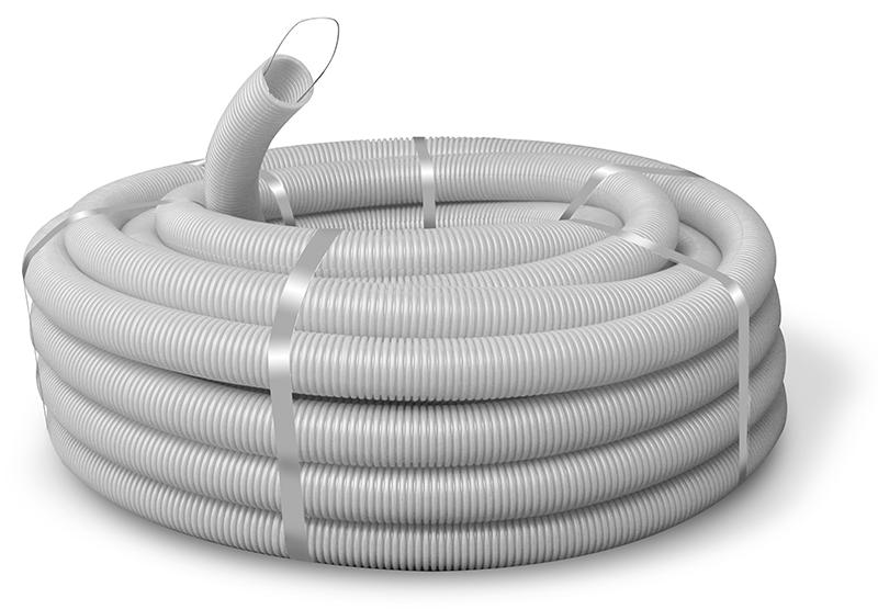 Труба ПВХ гнучка гофр. д.32мм, стандартна з протяжкою, сірий колір