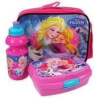 """Набор """"Frozen (Холодное сердце)"""": лачбокс для завтрака + бутылка в сумке, цвет розовый"""