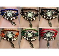 Винтажные женские часы - браслет на кожаном ремешке