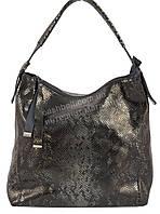 Оригинальная стильная прочная элегантная кожаная женская сумка под рептилию SOLANA art.1590 серый