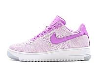 Женские кроссовки Nike air force flyknit low purple Розовые. женские найк