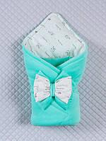 """Демисезонный конверт-одеяло для новорожденных """"Маленькие стеляжки"""" ментолловый"""