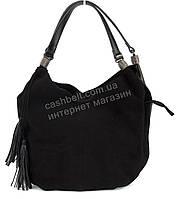 Стильная кожаная объемная женская сумка черного цвета SOLANA art. 363