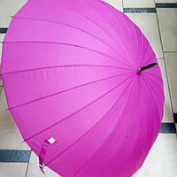 Зонт женский однотонный малиновый трость