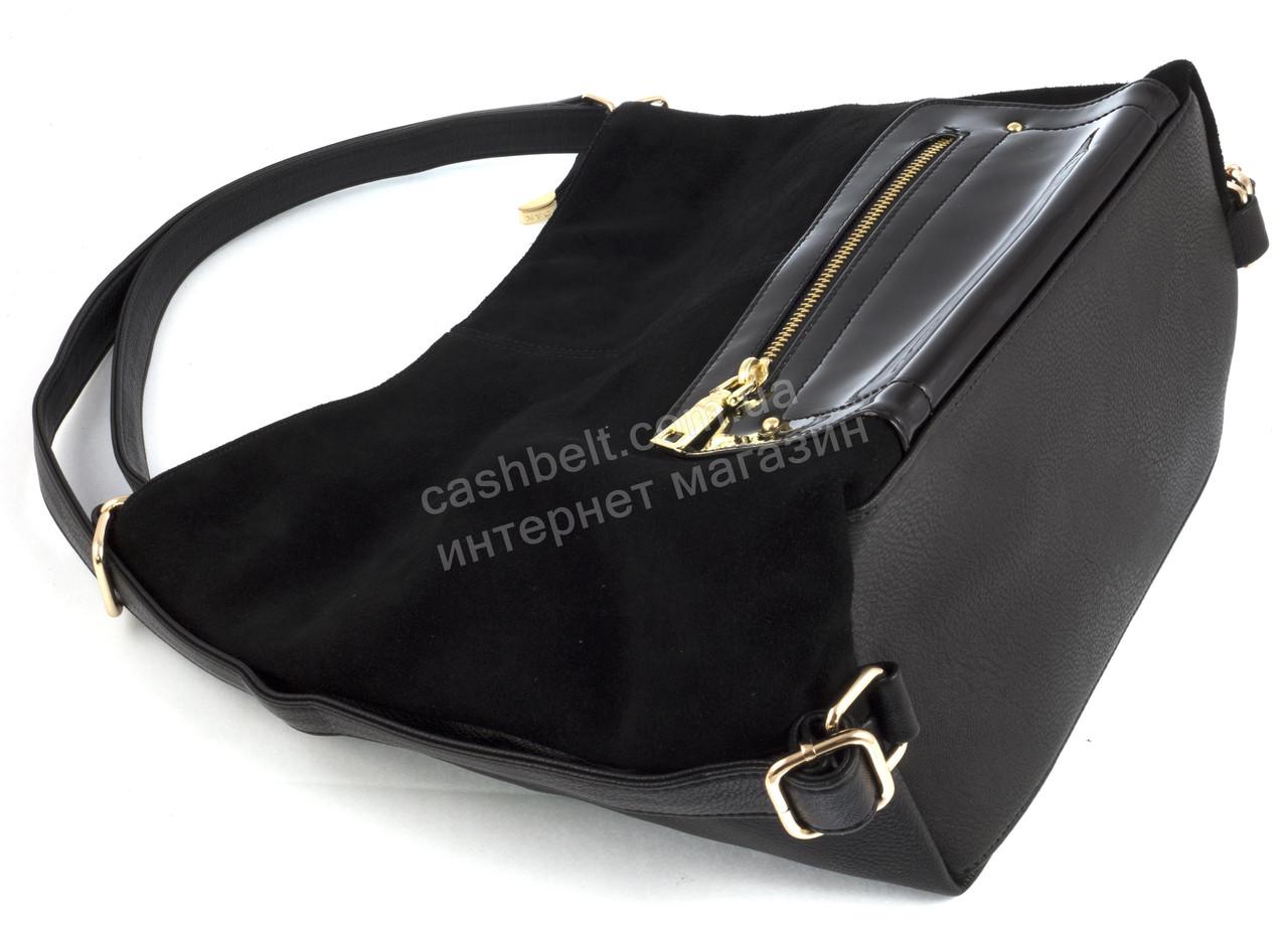 78d6ebd47aa8 ... Оригинальная стильная прочная женская сумка рюкзак с натуральной  замшевой вставкой D&K art.108 черная, ...