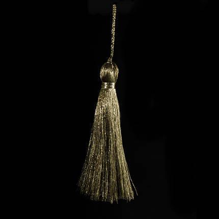 Пензлик підвіска з метал нитки-т. оливка 15 см, фото 2