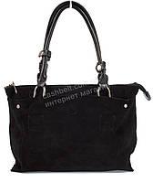 Компактная стильная прочная женская сумка  с натуральной кожи и замшевой вставкой SOLANA art.21386 черная