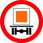 Дорожные знаки Запрещающие знаки Движение транспортных средств, перевозящих опасные грузы, запрещено 3.12