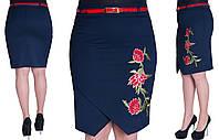 Женская юбка с вышивкой. Цвет синий. Размер: 42, 44, 46, 48.  Код 241