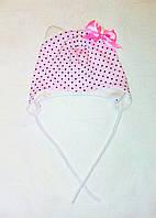 Детская шапка для девочки на завязках с ушками