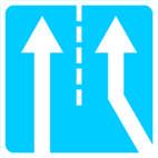 Дорожные знаки Информационно-указательные знаки Примыкание дополнительной полосы движения с правой сторон 5.23