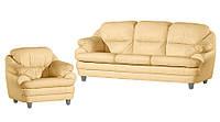 """Кожаный комплект мебели """"SARA"""": раскладной диван и кресло"""