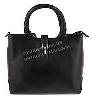 Компактная стильная прочная женская сумка  с натуральной кожи art.868 черная