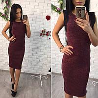 Женское платье с ангоры софт+кружево, бордовое