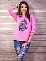 Цветная женская кофточка с рисунком совы