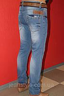 Джинсы зауженные мужские оптом STRAVT(стравт) комбинированый с коричневой вставкой и манжетом