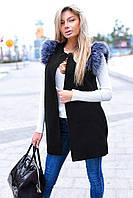 Стильная женская жилетка с поясом и карманами