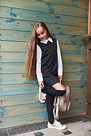 Детское школьное  черное платье с белыми шифоновыми рукавами. Арт-2044/22