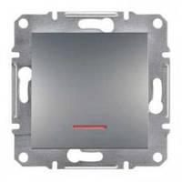 Выключатель одноклавишный с подсветкой Asfora сталь, EPH1400162