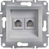 Розетка телефонная двойная, RJ11 Asfora алюминий, EPH4200161