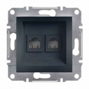 Розетка телефонная двойная, RJ11 Asfora антрацит, EPH4200171