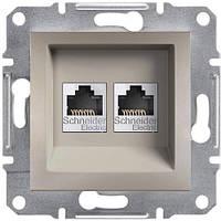 Розетка компьютерная двойная, RJ45, кат.6, UTP Asfora бронза, EPH4800169