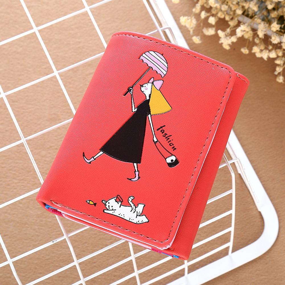 Маленький кошелек с девочкой светло красный