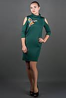 Женское платье с вышивкой Самира р.44-52 зеленый