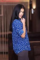 Женская рубашка с принтом Загадка 37-1 синяя