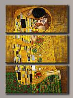 """Модульная картина на холсте из 3-х частей """"Густав Климт - Поцелуй"""""""