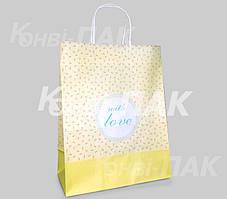 """Пакет с кручеными ручками """"Цветочек Любовь"""" 335х260х140"""