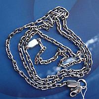Серебряная цепочка, 500мм, 10 грамм, якорное плетение, чернение