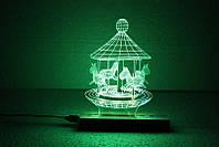 """3D светильник-ночник """"Карусель"""", фото 1"""