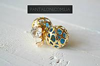 Серьги-пуссеты Dior Tribal золотистые с бирюзовыми кристаллами внутри