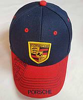 """Кепка подростковая  """"Porsche"""". Размер  54-55 см. Темно-синий+красный. Оптом."""