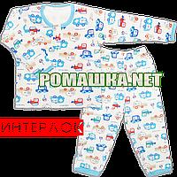 Детская плотная пижама для мальчика р. 92-98 демисезонная ткань ИНТЕРЛОК 100% хлопок 3416 Голубой 98