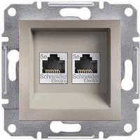 Розетка компьютерная двойная, RJ45, кат.5е, UTP Asfora бронза, EPH4400169