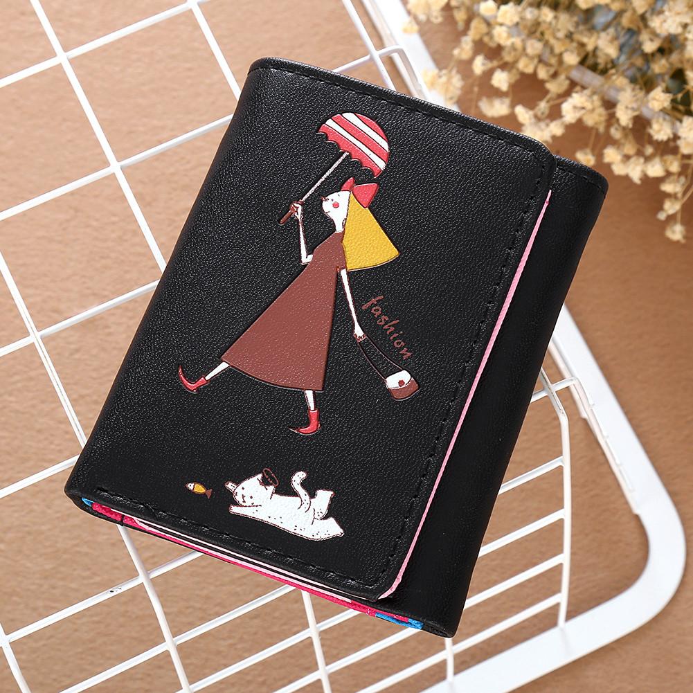 Маленький женский кошелек с девочкой Черного цвета