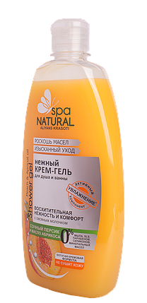 Нежный крем-гель для душа и ванны Сочный персик и масло абрикоса (уход и нежность) МК NATURALL 500мл (2322) , фото 2