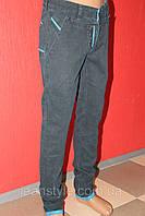 Джинсы мужские STRAVT зелёные, зауженные, комбинированные с голубыми вставками и манжетом