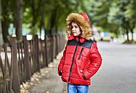 Стильная красная детская курточка на мальчика с искусственным мехом на капюшоне. Арт-2046/22