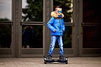 Стильная синяя  детская курточка на мальчика с искусственным мехом на капюшоне. Арт-2046/22
