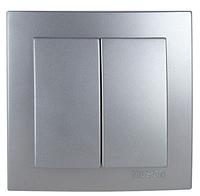 NILSON TOURAN Металлик Выключатель двухклавишный серебро