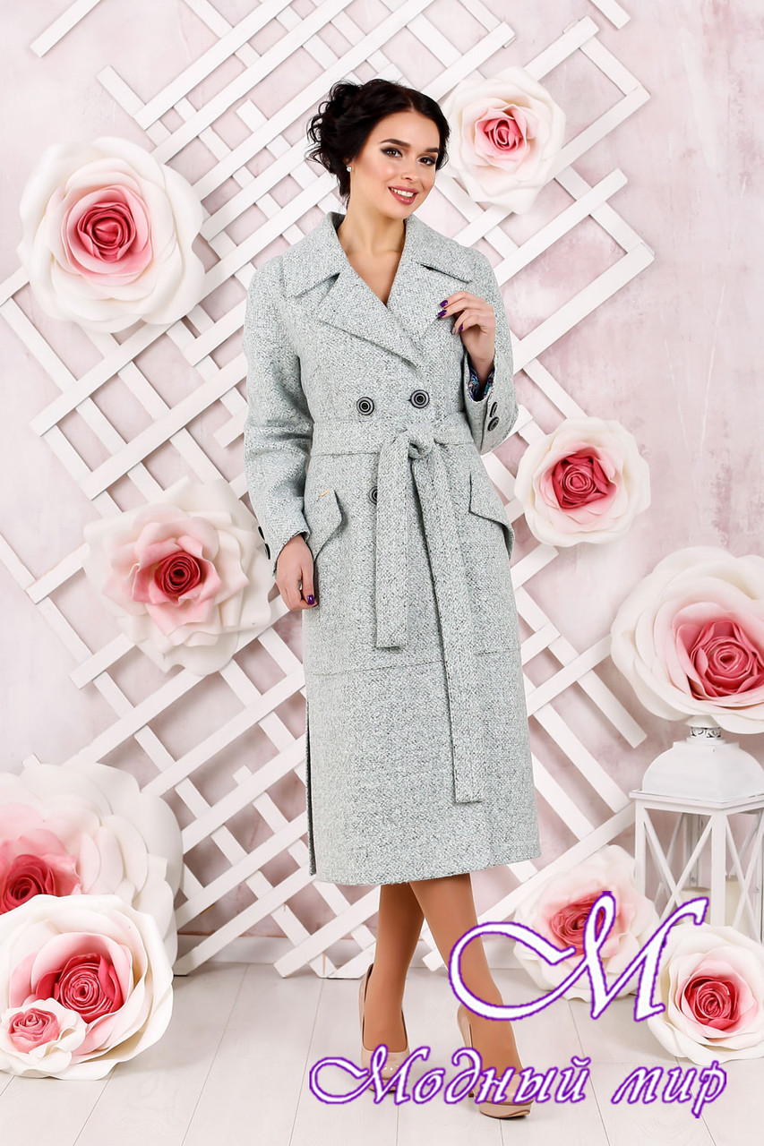 Классическое женское пальто  цвета бирюза батал (р. 44-54) арт. 983 Тон 2