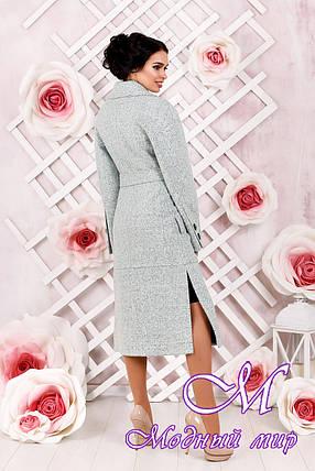Классическое женское пальто  цвета бирюза батал (р. 44-54) арт. 983 Тон 2, фото 2