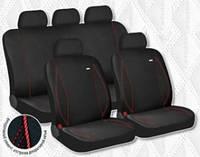 Чехлы сидения Hadar Rosen PARTNER Черный\ красная строчка 10918 (Ткань-Эластик) полный к-т